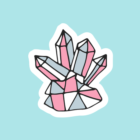 Cute hand drawn magic crystal in patch style. Great design of rhinestone for embroidery, sticker or pin