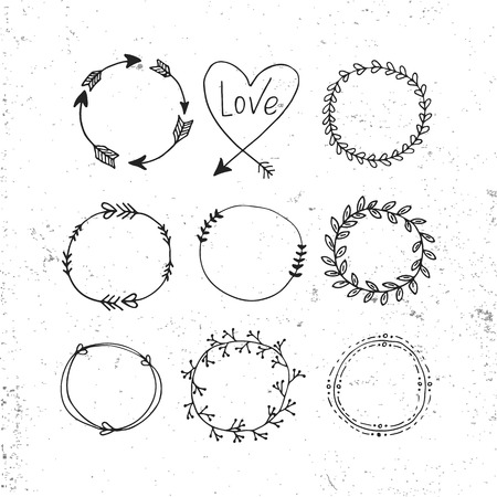 Arrows, hearts, ornament - handdrawn wedding decor elements in boho style. Vector collection
