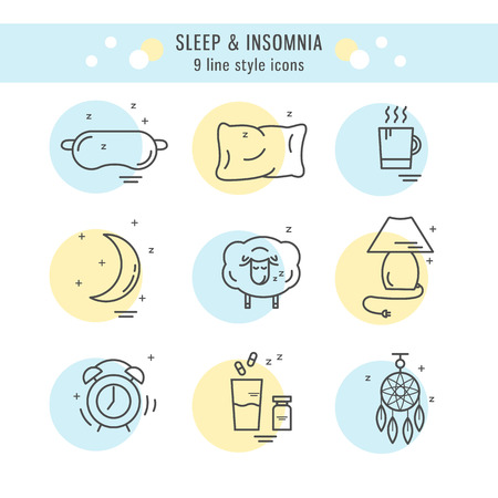 Collection of isolated vector line icons with sleep problems and insomnia symbols.