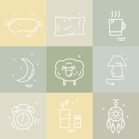 sleeper: Collection of isolated vector line icons with sleep problems and insomnia symbols.