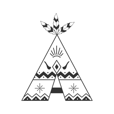 Cute tipi illustration isolated on white with feathers and indian ornaments. Vector wigwam boho style.