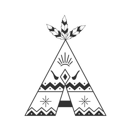 Ilustración linda del tipi aislada en blanco con las plumas y los ornamentos indios. Vector wigwam boho estilo. Ilustración de vector