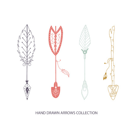 Collection of hand drawn arrows. Tribal vector illustration. Illustration