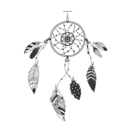 rite: Cute hand drawn dreamcatcher with feather. Vector handdrawn doodle illustration.