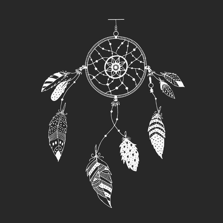 Cute hand drawn dreamcatcher with feather. Vector handdrawn doodle illustration.