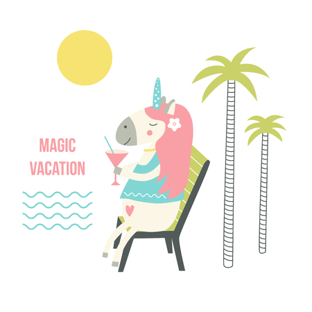 Unicorn with a cocktail in summer on vacation. Cute hand drawn cartoon magic vector illustration.