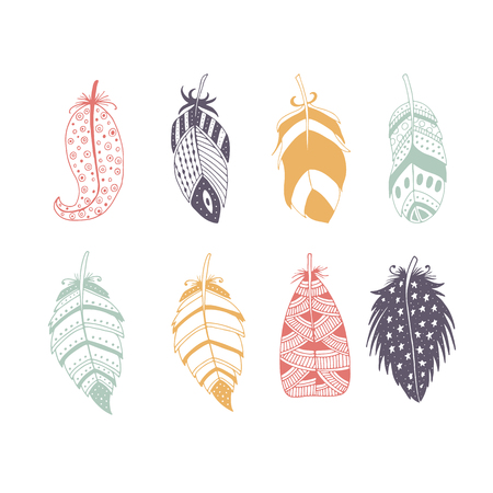 Cute hand drawn set of different feathers. Bird feather collection in doodle style. Vector illustration
