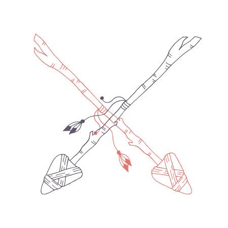 Hand drawn stone and wood arrow. Tribal vector illustration Illustration
