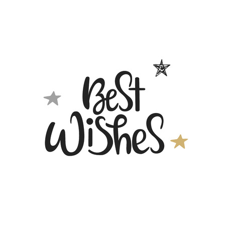 Best Wishes - Hand Drawn Christmas Lettering. Cute New Year Phrase ...