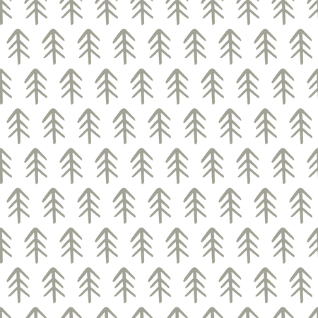 Winter hand drawn seamless pattern with Christmas tree. Vector illustration.