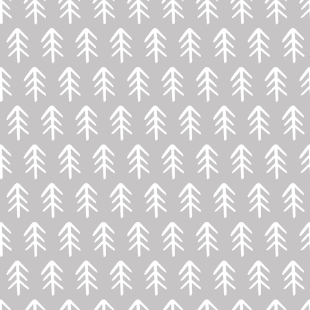 Winter hand drawn seamless pattern with Christmas tree Vector illustration.