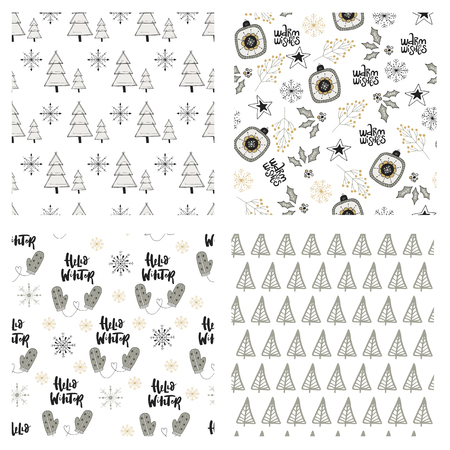new years: Cute winter hand drawn seamless pattern collection with Christmas elements. New Year vector illustration. Illustration