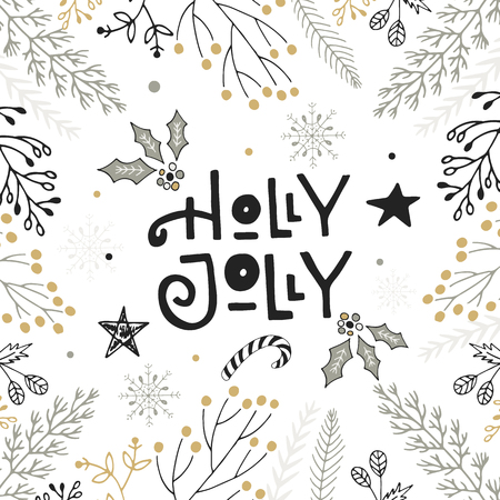 christmas postcard: Holly Jolly - hand drawn Christmas lettering with floral and decorations. Cute New Year clip art. Vector illustration.