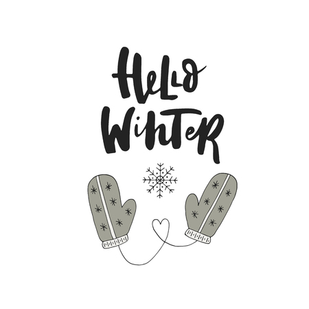 christmas postcard: Hello winter - hand drawn Christmas card with lettering and decorations. Cute New Year clip art. Vector illustration.