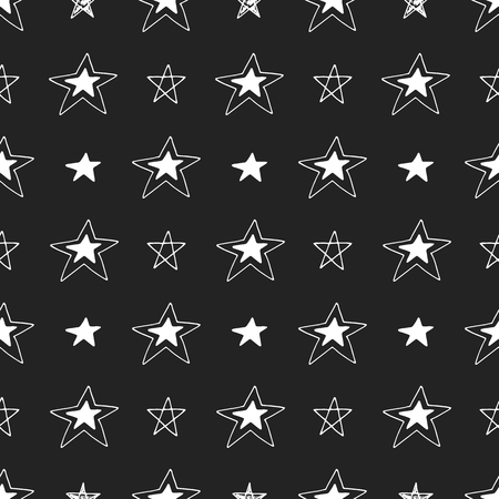 Cute hand drawn seamless pattern with stars Vector illustration.