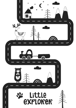 Little explorer - Cute hand drawn nursery poster with road, wild animals and car. Unique card in black and white scandinavian style. Monochrome vector illustration. Vectores