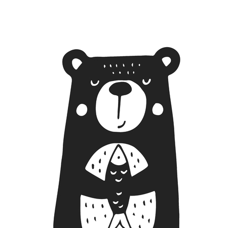Cute hand drawn nursery poster with bear in scandinavian style. Monochrome vector illustration. 矢量图像