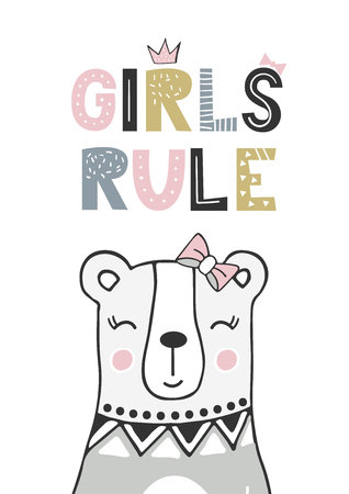 Girls rule - unique hand drawn nursery poster with handdrawn lettering in scandinavian style. Vector illustration. Illustration