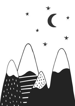 Cute hand drawn nursery poster with handdrawn mountains stars and moon in scandinavian style. Monochrome vector illustration.