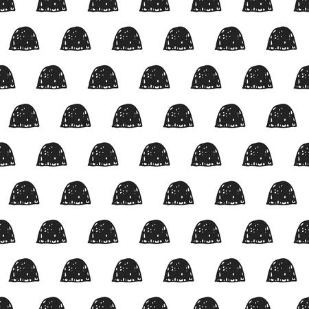 Einzigartige Hand gezeichnetes nahtloses Muster mit abstrakten Formen. Vektorillustration in der einfarbigen skandinavischen Art. Standard-Bild - 88047771