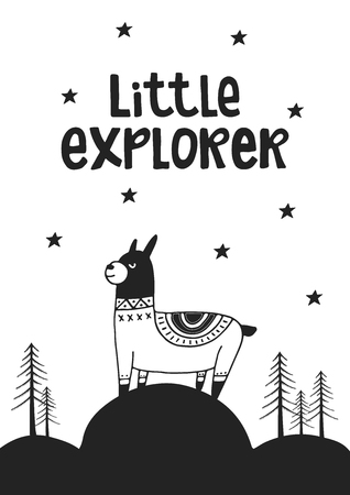 Little explorer cute hand drawn lettering for nursery poster in scandinavian style.