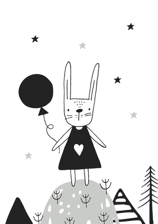 Cute hand drawn nursery poster with hare girl in scandinavian style.