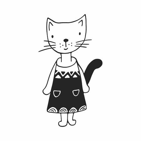 Cute hand drawn nursery poster with girl cat in scandinavian style. Monochrome vector illustration. Illustration