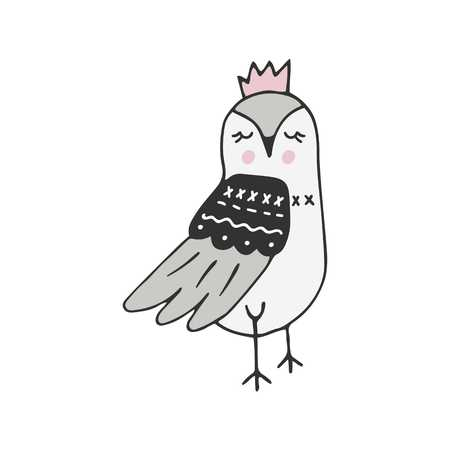 Cute hand drawn nursery poster with little bird in scandinavian style. Monochrome vector illustration. Illustration