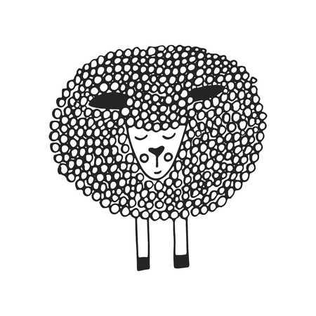 ovejitas: Lindo cartel de vivero dibujado a mano con pequeñas ovejas únicas en estilo escandinavo. Ilustración de vector monocromo.
