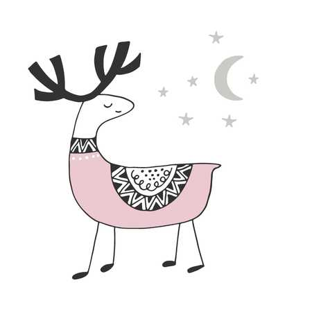 Cute hand drawn nursery poster with deer in scandinavian style. Monochrome vector illustration. Illustration