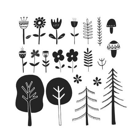 Cute hand drawn monochrome floral set. Unique vector botanical collection of flower, mushrooms, trees. Vector elements in scandinavian style.
