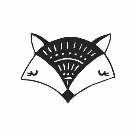 Cute hand drawn nursery poster with fox in scandinavian style. Monochrome vector illustration. Illustration