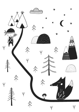 Cute hand drawn nursery poster with wild cartoon animal in scandinavian style. Monochrome vector illustration. Stock Vector - 88773931