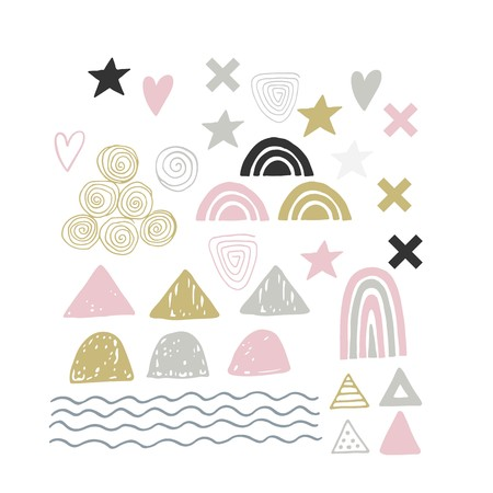 Cute hand drawn abstract shapes for decoration and making patterns in monochrome scandinavian style. Vector illustration.