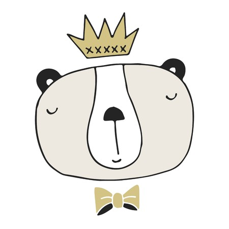 Hand drawn bear king. Nursery poster in scandinavian style. Colore vector illustration.