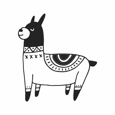 Cute hand drawn nursery poster with little llama in scandinavian style. Monochrome vector illustration.