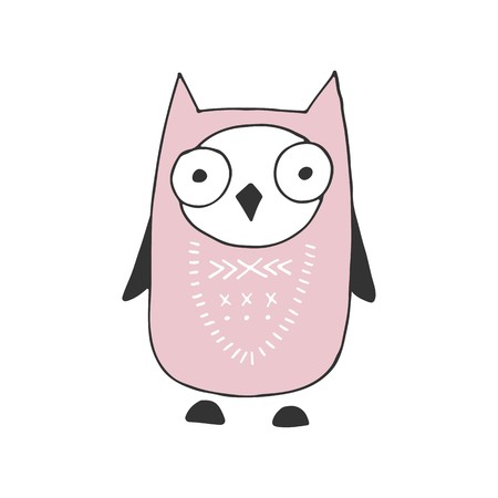 Cute hand drawn nursery poster with cartoon owl in scandinavian style. Color vector illustration.