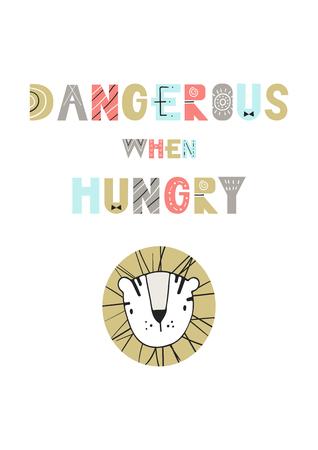 ときに空腹 - かわいい、楽しい漫画虎と北欧風のレタリングで描かれた保育園ポスターの手は危険。  イラスト・ベクター素材