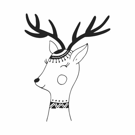 Cute hand drawn poster with deer in scandinavian style. Vector illustration.