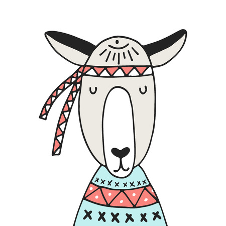 Cute hand drawn nursery poster with llama in scandinavian style. Color vector illustration.
