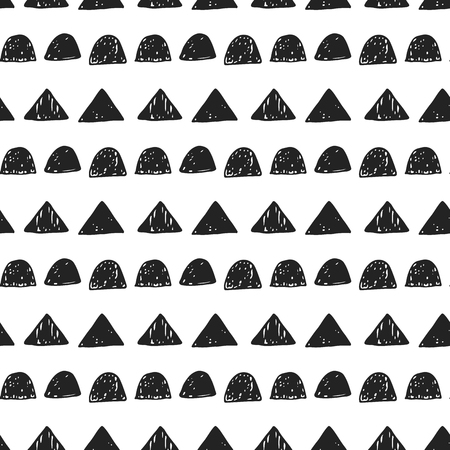 Unique hand drawn seamless pattern with abstract shapes. Vector illustration in scandinavian style.