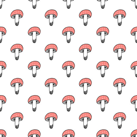 Unique hand drawn seamless pattern with amanita mushrooms. Vector illustration in scandinavian style.