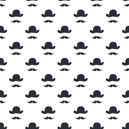 It's a boy - Unique hand drawn little man seamless pattern with hat and mustache. Vector illustration in scandinavian style.