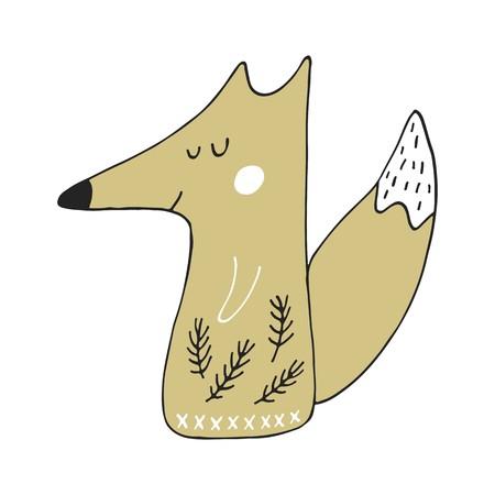 Cute hand drawn nursery poster with cartoon fox in scandinavian style vector illustration. Illustration