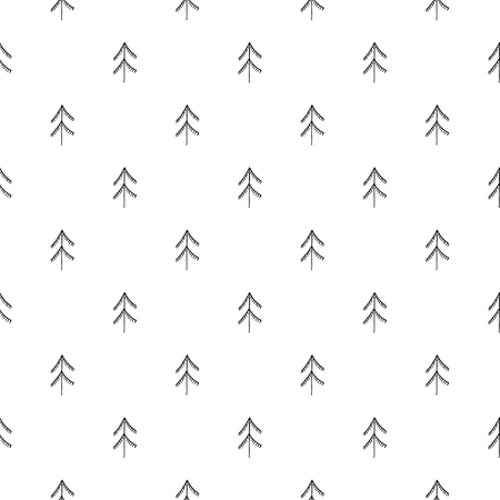 Unique hand drawn seamless pattern with christmas tree. Vector illustration in monochrome scandinavian style. Illustration