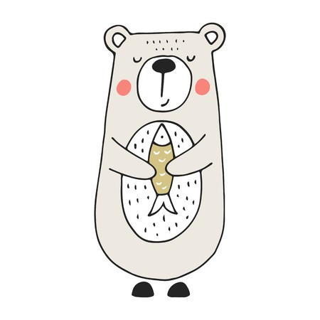 Cute hand drawn nursery poster with bear and fish in scandinavian style. Color vector illustration.