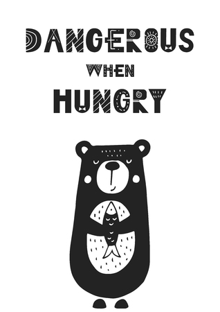 Dangerous when hungry - unique hand drawn nursery poster with handdrawn lettering in scandinavian style. Vector illustration.