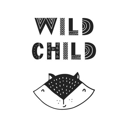 Wild child - unique hand drawn nursery poster with handdrawn lettering in scandinavian style. Vector illustration.
