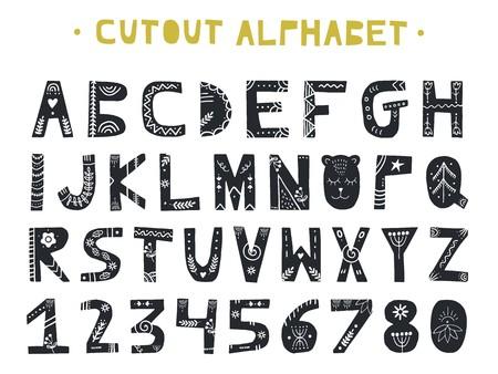 Ausschnitt ABC - lateinisches Alphabet. Einzigartige handgemachte Buchstaben Volkskunst Ornament im skandinavischen Stil. Vektor-illustration