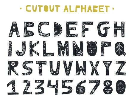 coupe abc . l & # 39 ; arbre latin . lettres art style de main dessinés à la main dans le style scandinave . illustration vectorielle